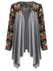 Floral Open Front Duster Coat - GRAY XL