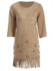 Tassels Faux Suede A-Line Dress - CAMEL