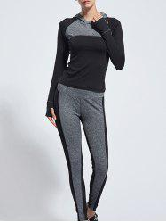 Hooded Color Block Yoga Suit -