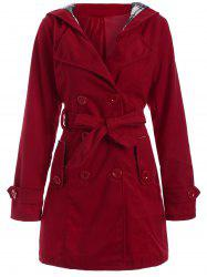 Long Hooded Wool Trench Coat -