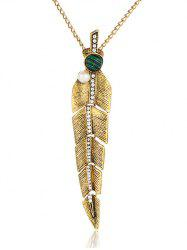 Artificial Pearl Feather Pendant Sweater Chain
