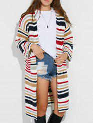 Colorful Striped Chunky Cardigan - WHITE ONE SIZE
