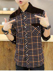 Long Sleeve Corduroy Panel Plaid Shirt
