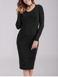 Fitted Criss Cross Back  Knit Dress -