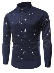 One Button Cuff Paint Splatter Shirt - PURPLISH BLUE 3XL