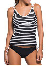 Spaghetti Strap Striped Tankini Bathing Suit