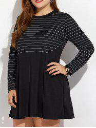 Casual Plus Size Striped Mini Dress