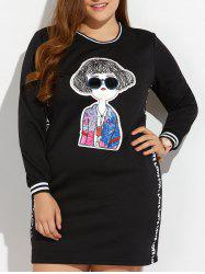 Plus Size Long Sleeve Cartoon Pattern Mini Dress - BLACK 4XL