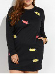 Plus Size Cartoon Cat Print Mini Thick Dress