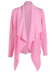 Open Front Asymmetric Hem Coat - PINK