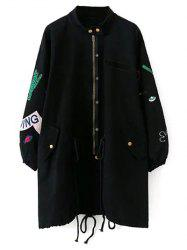 Stand Neck Patch Design Trench Coat -