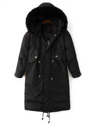 Hooded Zip-Up Drawstring Parka Puffer Coat -