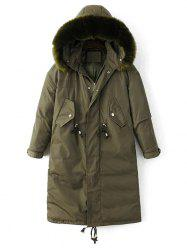 Hooded Zip-Up Drawstring Puffer Coat