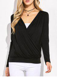 Plunging Neck Surplice Ruched T-Shirt - BLACK XL
