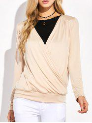 Plunging Neck Surplice Ruched T-Shirt -