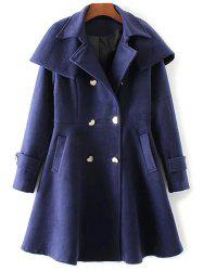 Double Breasted Skirted Coat With Cape -