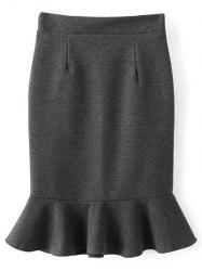 High Waist Woolen Mermaid Skirt - GRAY