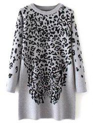 Leopard Graphic Long Sweater -