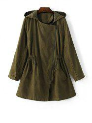 Hooded Drawstring Suede Anorak Coat - GREEN