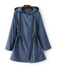 Hooded Drawstring Suede Anorak Coat - BLUE