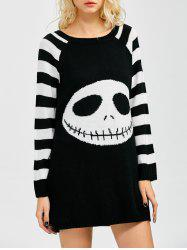 Stripes Ghost Pattern Tunic Shirt Sweater Dress -