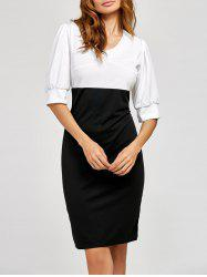 Half Sleeve Color Block Sheath Dress