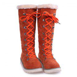 Lace Up Suede Mid-Calf Boots