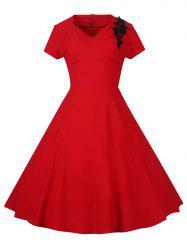 Lace Embroidered Insert 1940S Cocktail Swing Dress - RED 2XL
