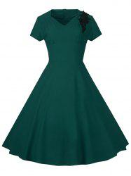 Lace Embroidered Insert 1940S Cocktail Swing Dress