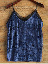 Cami Lace Spliced Loose Tank Top - BLUE ONE SIZE