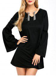 Bell Sleeve Mini Shift Dress
