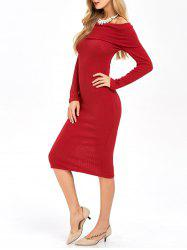 Long Sleeve Off Shoulder Midi Sheath Dress