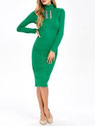 Knitted Ribbed Bodycon Polo Neck Jumper Dress