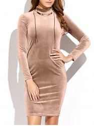 Long Sleeve High Neck Mini Velvet Dress