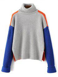 Loose Turtleneck Color Block Chunky Sweater