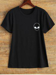 Streetwear Jewel Neck Alien T Shirt