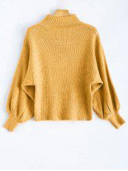 Mock Neck Puff Sleeve Pullover Sweater - YELLOW