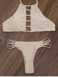 Cut Out High Neck Strappy Bikini Set