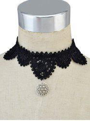Lace Floral Pendant Choker Necklace
