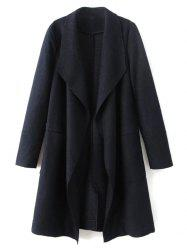 Wool Blend Turndown Collar Coat