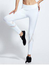 Taille haute Mesh Yoga épissage Leggings Tight - Blanc