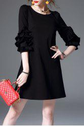 Ruffle Sleeve Mini Shift Dress - BLACK