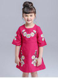 Kids Floral Embroidered Mini Dress -