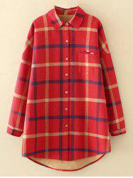 Plus Size Checkered Fleece Flannel Lined Shirt -