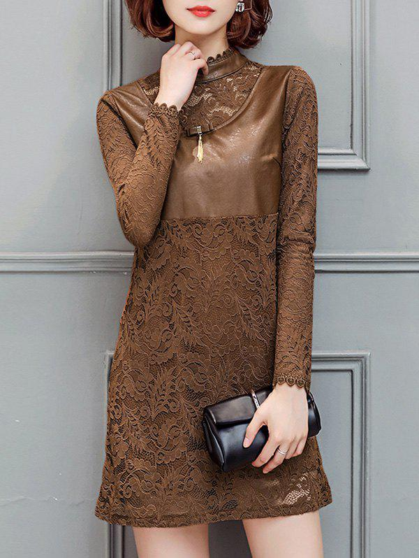 Hot PU Insert Long Sleeves Lace Dress