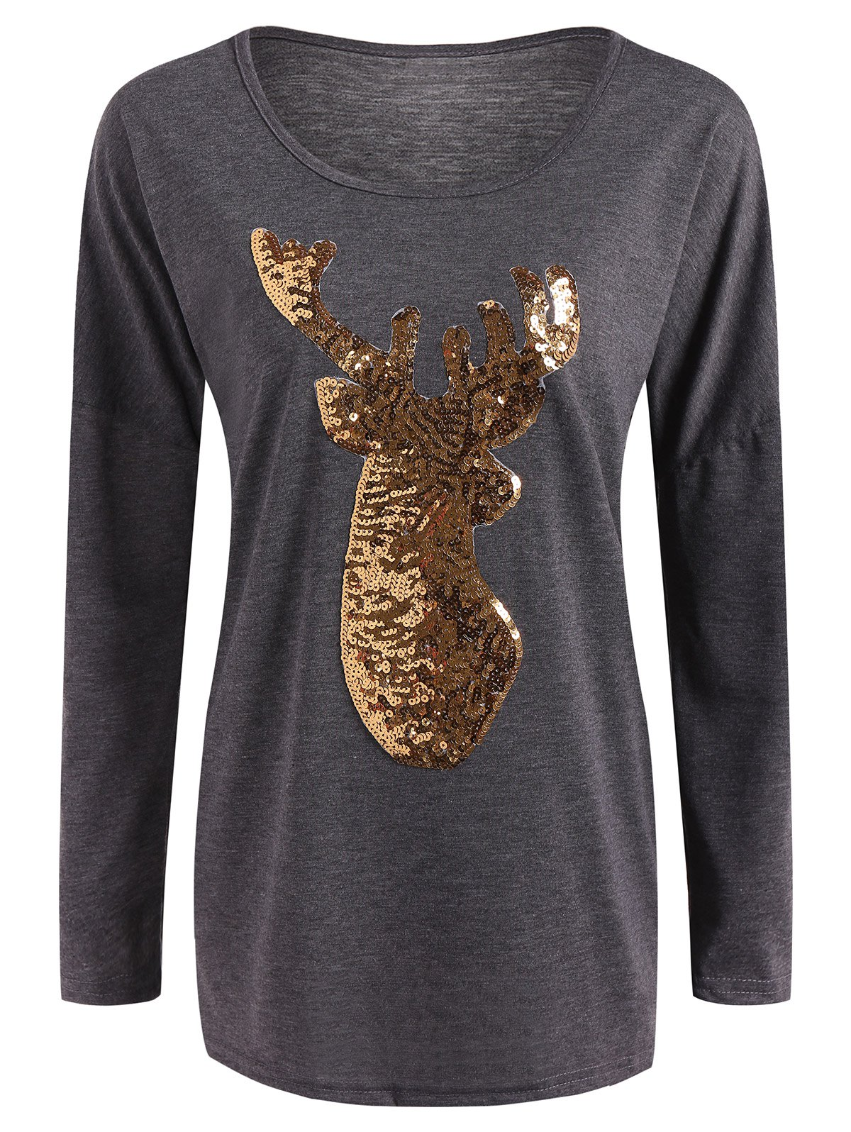 Christmas Reindeer Sequin Long Sleeve T-ShirtWOMEN<br><br>Size: L; Color: GRAY; Material: Polyester; Sleeve Length: Full; Collar: Scoop Neck; Style: Casual; Embellishment: Sequins; Pattern Type: Animal; Season: Fall,Spring,Winter; Elasticity: Elastic; Weight: 0.370kg; Package Contents: 1 x T Shirt;