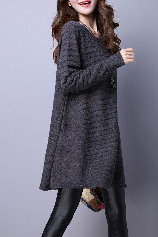 Affordable Big Pockets Trapeze Knitted Jumper Dress
