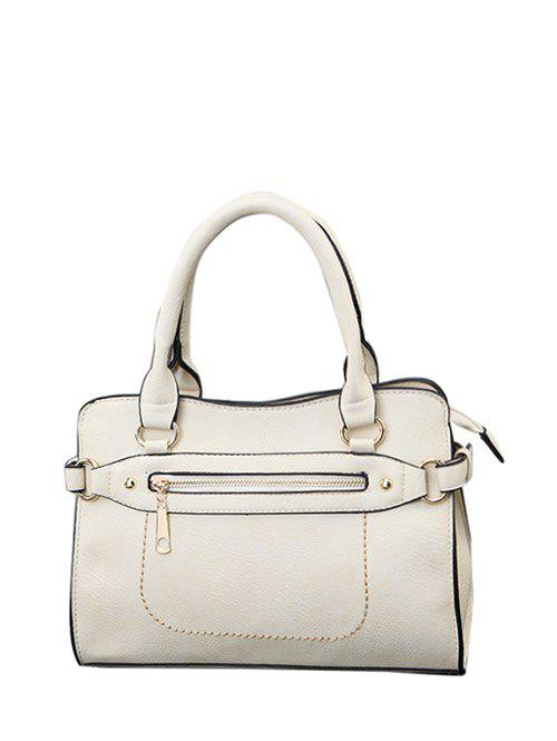 Outfits Textured PU Leather Zip Stitching Tote