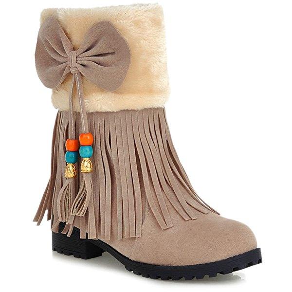 Discount Faux Fur Bow Tassels Fringe Ankle Boots