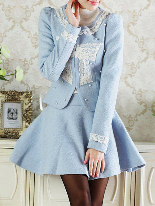 Cheap Lace Insert Short Wool Jacket With Flare Skirt